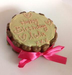 DOG BIRTHDAY CAKE PEANUT BUTTER treat puppy gift Christmas pink white