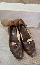 Vintage Gucci Snakeskin Leather Loafers Slip On Shoes US 4.5