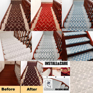 1~15PCS Stair Tread Carpet Mat Step Staircase Non Slip Mat Protection Cover Pads