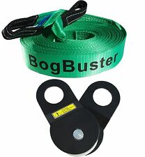 BOGBUSTER  WINCH EXTENSION STRAP & SNATCH BLOCK OFF ROAD RECOVERY 4X4 ROPE 4WD