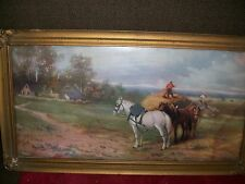 vintage or antique thrashing print with frame horses, farm. frame 17 1/2 x 9 1/2