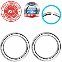 """925 Sterling Silver Nose Tragus Lip Ring Continuous Hoop 1/4""""  18 Gauge 18G"""
