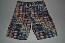 POLO RALPH LAUREN RED MADRAS PATCHWORK BLUE PLAID SHORTS BOYS SIZE 12