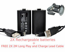 2X Rechargeable Battery Pack +2X 2MLong Lead Cable For XBOX ONE ELITE Controller