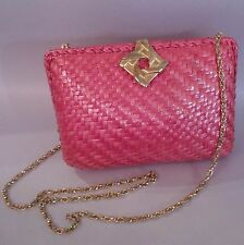 RODO Vintage Pink Woven Shoulder Clutch Bag Purse with Chain Strap Made in Italy