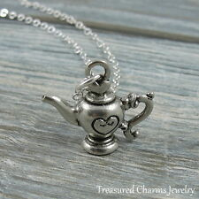 Silver Teapot Charm Necklace - Tea Pot with Heart Teacup Pendnat Jewelry NEW