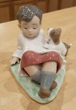 """Lladro 5988 """"Taking Time"""" Boy Leaning Back with Dog Great Condition Retired"""