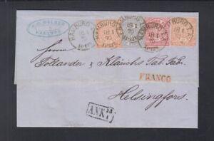 NDP Faltbrief 1870 Hamburg über St. Petersburg nach Finnland