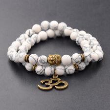 Fashion Natural Howlite Beads Double Winding 3D OM Buddha Beads Chakra Bracelets