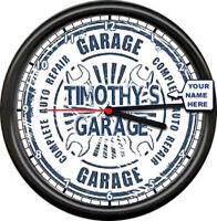 Personalized Name Custom Garage Auto Tool Mechanic Repair Service Wall Clock
