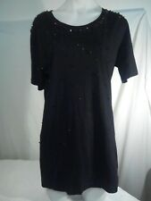 Witchery Ladies Top in Black with Black Beaded Detail Size M