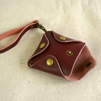 Vintage Men Women Coin Pouch Mini Wallet Purse Leather Square Clasp Keyring Gift