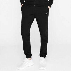 Mens Slazenger Black Cuffed Jersey Jogging Tracksuit Bottoms Joggers Pants