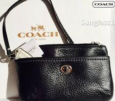 """NEW* COACH PARK LEATHER MEDIUM WRISTLET IN """"SILVER/BLACK"""" #F49472 - NWT $88 srp"""