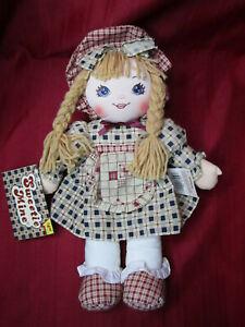 "1995 Vintage 15"" Sweetie Mine Rag Doll Plaid Country Dress Blonde Braid Blue Eye"