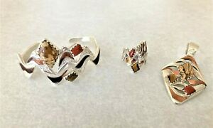 "Carolyn Pollack ""Utah"" set, pendant, cuff, ring, sterling/copper ex cond"
