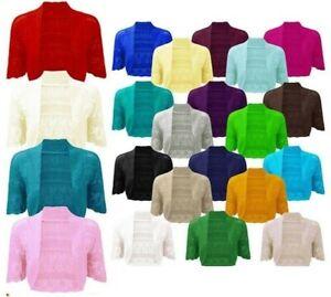 Ladies Crochet Knitted Short Sleeve Shrug Cardigan Bolero Top Plus S/M To 4XL