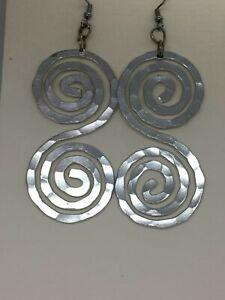 Silver spiral dangle earrings, Aluminum handmade hammered jewelry