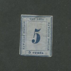 1864 United States Hawaii Postage Stamp #21 F/VF Hinged No Gum Imperf Numeral