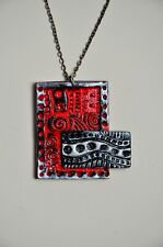 Handmade art jewelry,crystal inlay modern red-black-silver polymer clay necklace