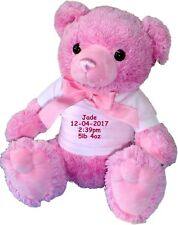 Personalised Teddy Bear New Baby Girl Pink Teddies Birth Details Newborn Gift