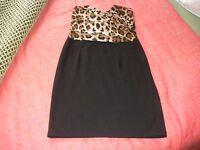 Miso Black and Leopard Print Dress UK 10