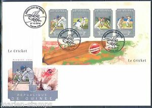 GUINEA 2014 CRICKET SHEET FIRST DAY COVER