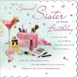 LARGE Special Sister Birthday Greeting Card - 8.75 x 8.75 Inches