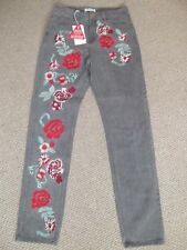 """Ladies GLAMOROUS GREY FLORAL DENIM JEANS UK SIZE 10 - 31""""L NEW WITH TAGS"""