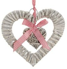 Grey Rattan Wicker Heart Wall Hanging Decoration Natural Shabby Chic