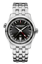 Hamilton Jazzmaster Black Dial GMT Stainless Steel Mens Watch auto H32695131