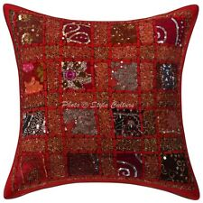Indian Patchwork Cotton Pillow Case Cover Handmade Embroidered Cushion Cover