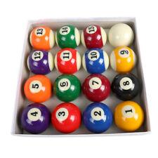 """Billiards Pool Table Billiard Ball Standard Size 2-1/4"""" Full 16 Piece Balls Set"""