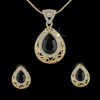Yellow Gold Filled Turkish Necklace Earrings Black Gems Waterdrop Jewelry Set