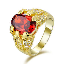 Luxury Size 10 Fashion Classic Red Garnet 18K Gold Filled Mens Anniversary Ring