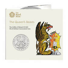 2021 Queen Beast Griffin of Edward III UK £5 Coin in Royal Mint Sealed Pack