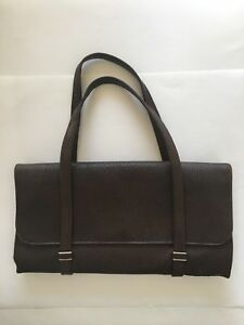 Hard To Read Branded Purse With Six Compartments Chocolate Brown Leather