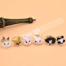 1 Pcs Random Animals Head Ring Cat Dog Fox Lovely Finger Ring Adjustable Kawaii