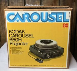 Kodak 650H Carousel Slide Projector With Remote Carousel And Box VERY NICE