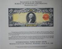 BEP souvenir card B 53 IPMS 1981 face 1905 $20 Technicolor Gold Certificate