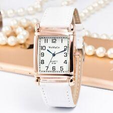 Hot Fashion Men Women Watch Leather Band Square Dial Quartz Analog Wrist Watch