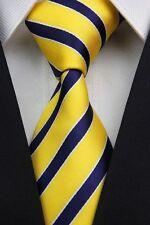 SALE!! Mens Classic Old School College Stripe Silk Necktie Tie Yellow Navy Blue