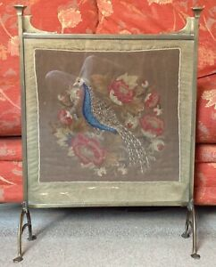 Arts & Crafts Brass Fire Screen Hand Embroidered Peacock Needlework Under Glass