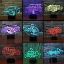 3D Police Car Jeep Night Light 7 Color Change LED Desk Lamp Touch Decor Gift