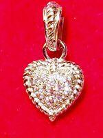 MINT VINTAGE JUDITH RIPKA STERLING SILVER HEART CZ CHARM PENDANT ENHANCER