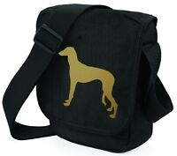 Saluki Hound Dog Bag Metallic Gold / Silver on Black Bags Birthday Xmas Gift