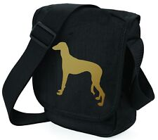 More details for saluki hound dog bag metallic gold / silver on black bags birthday mothers day