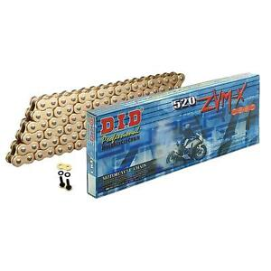 DID Gold Super HD X-Ring Motorcycle Chain 520ZVMXGG 114 Links w/ Rivet Link