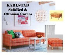 IKEA Karlstad Ottoman+SOFABED Husie ORANGE Cover Plaid Cotton Sofa Bed Footstool