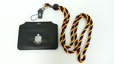 NEW ID Card Metal badge holder Genuine leather horizontal multicolor lanyard